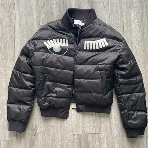 Cropped puffy bomber jacket